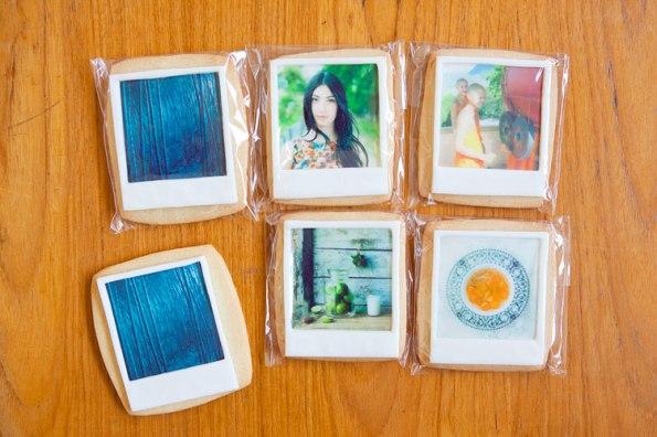 photograph of photos printed on a biscuit